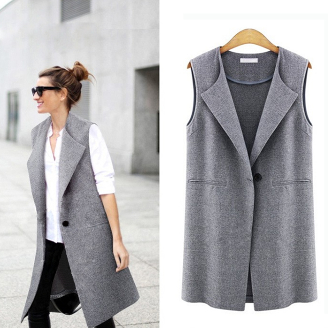 Casual sleeveless blazer vest woman ladies femme female summer black gray plus  size oversized big quilted