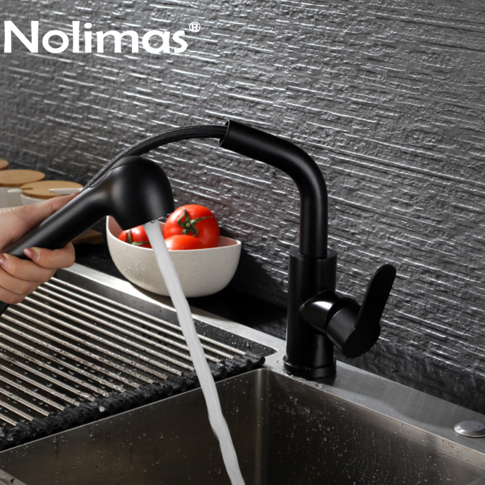 Kitchen Faucet And Pull Out Faucets SUS 304 stainless steel Hot And Cold Double Control Black Paint Spool Mixer Water Tap цена