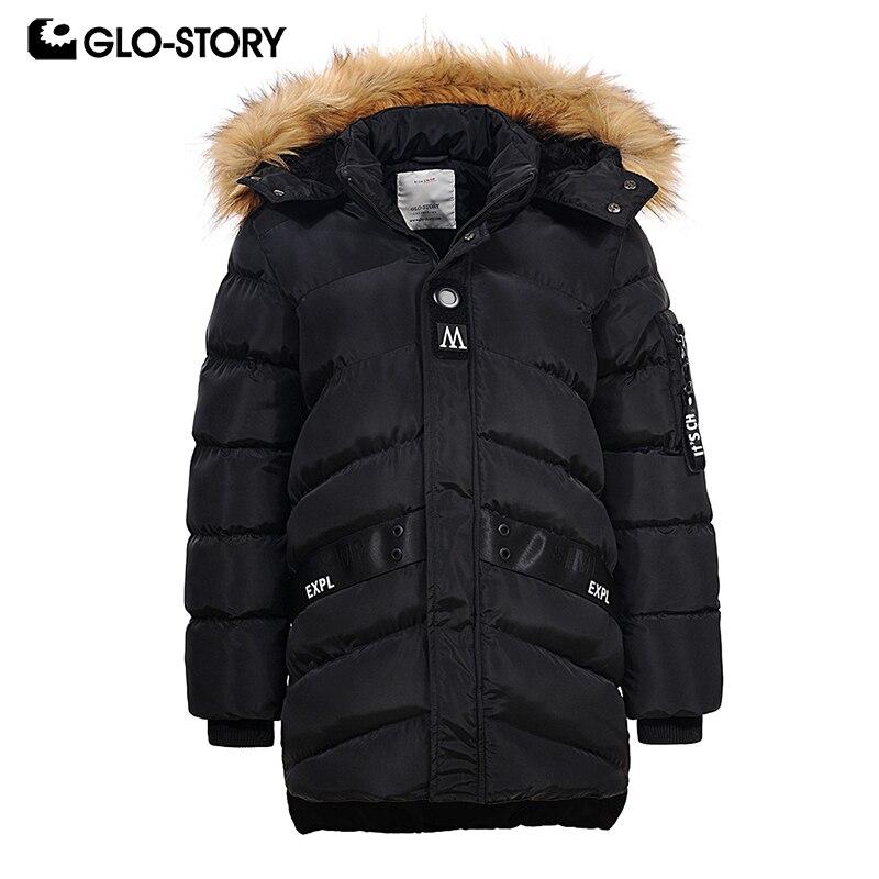 GLO-STORY для мальчиков 2018 Толстая Теплая стеганая куртка пальто для мальчиков-подростков хип-хоп мода Adjustabel с капюшоном ветровки BMA-6462