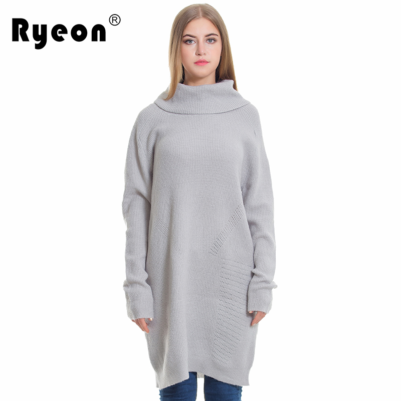 Ryeon Winter Autumn Sweater Dresses Big Size Women Turtleneck Long Sleeve Loose Casual Grey Sexy Pullover Knitted Sweater Jumper