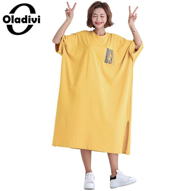 Oladivi Oversized Plus Size Women Short Sleeve Summer Dress 2019 Casual Ladies Loose Style Cotton Dresses Vestidios 8XL 6XL 5XL