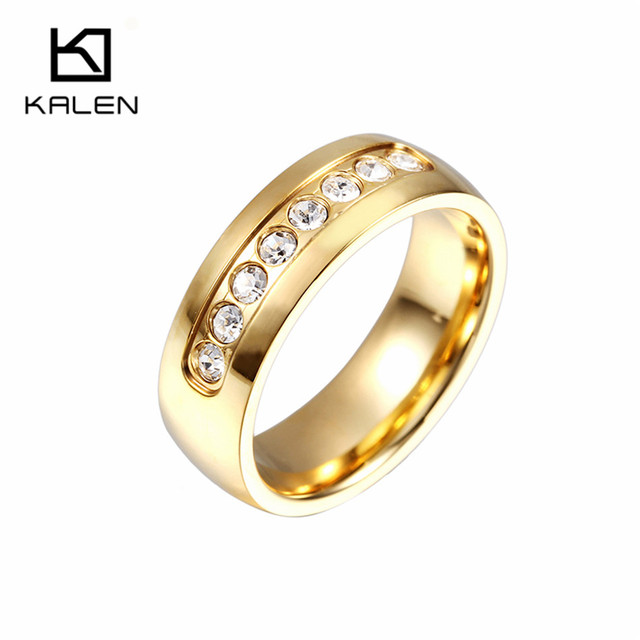 Perto Rico Ring Jewelry Stainless Steel Crystal Rings Italian Gold Color Silver Women Wedding Engagement