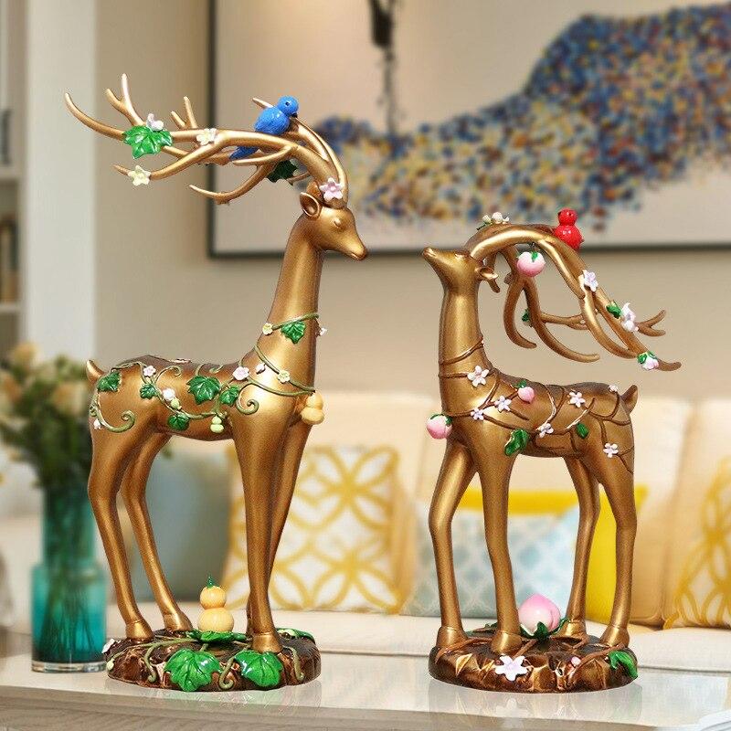 Американские ретро украшения с оленями украшения гостиной ТВ шкаф домашнего интерьера скандинавский Лось украшение декора - 2