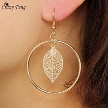 Crazy Feng Gold Silver Color Trendy Earrings Circle With Hol