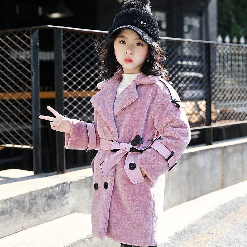 все цены на 2018 Girls Winter Coat Size 4 6 8 10 to 12 Years Yellow New Keep Warm Woolen Coat with Belt Children Kids Cardigan Clothes 5R14B