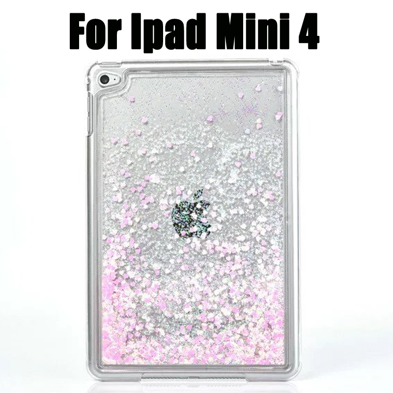 New Crystal PC For iPad mini 4 Bling Glitter Love Heart Liquid Sand Tablet Cover Capa Para Case For iPad Mini 4 Case Back Cover картридж для принтера и мфу cactus cs ept0806 light magenta