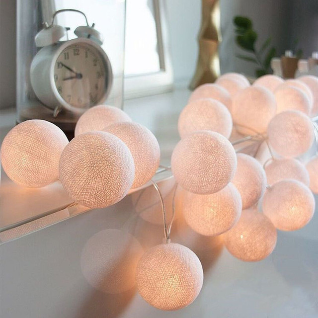 LED Cotton Ball String Lights Battery Operated