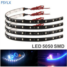LED flexible strip Waterproof White 30cm 5050 SMD12  for all car use 10pcs/lot