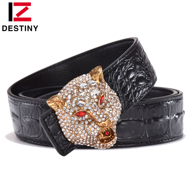 DESTINY Luxury Men   Belt   Famous Brand Designer   Belts   Male Genuine Leather Strap Waist Fashion Crocodile Gold Wolf Wedding Diamond