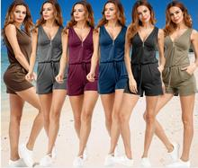 2019 Summer Women V-Neck Rompers Sexy Front Zipper Solid Elegant Bodycon Jumpsuit Sleeveless femme Playsuit Overalls Plus Size tiye women bodycon glitter rhinestones sexy shorts playsuit jumpsuit front zipper v neck sleeveless club romper summer overalls