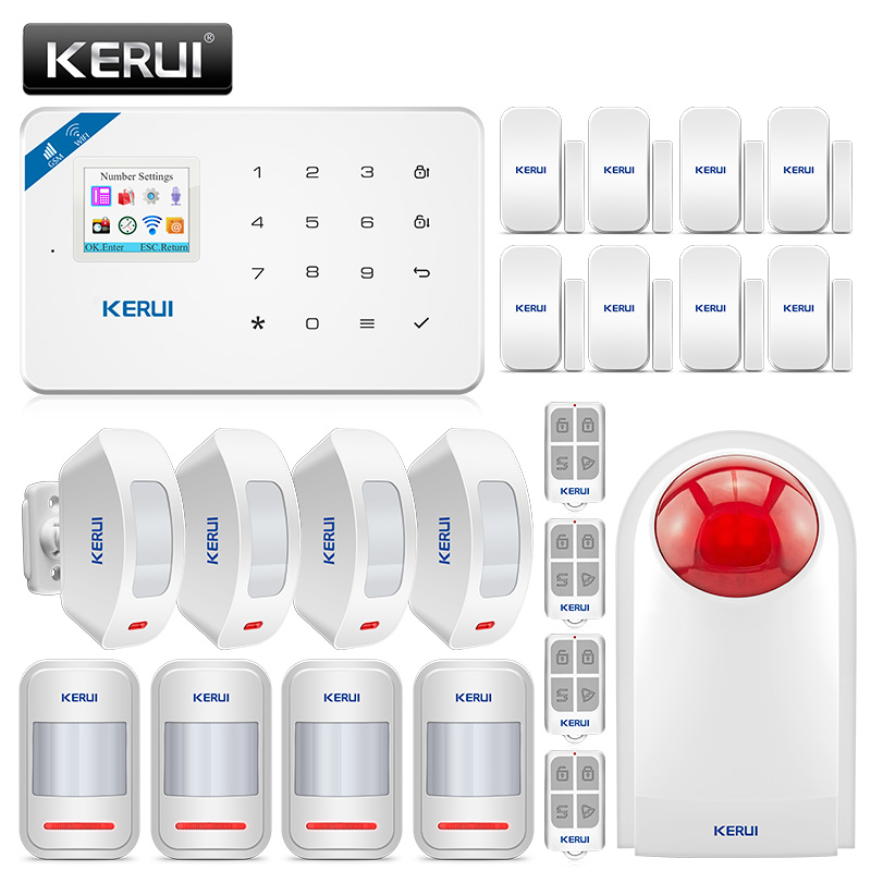 KERUI W18 Wireless GSM WIFI Alarm System Home Security Burglar Alarm Kit Chargeable Center Panel Android iPhone IOS APP Control kerui w18 wireless wifi gsm ios android app control lcd gsm sms burglar alarm system for home security russian english voice