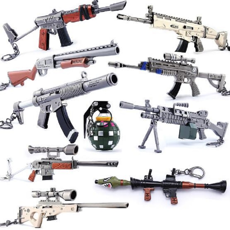 Selfless Game Fortnight Ax/pickaxe/reaper/battle Royale/weapon Fort Night Keychains Gun Rifle Metal Pendant Key-ring Men Gifts For Kids Key Chains