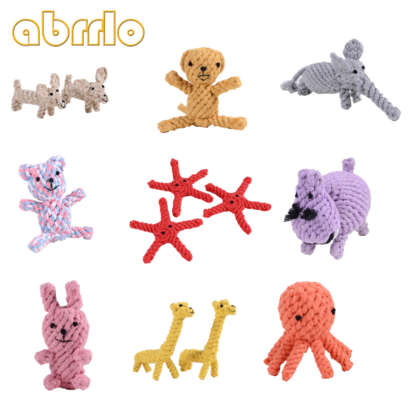 Abrrlo 24 Style Pet Toys Hand Knitting Color Stripe Cotton Rope Woven Cartoon Shape Suitable For Play Interactive Games With Dog