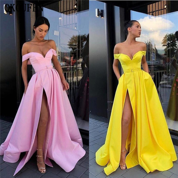 Yellow Pink   Prom     Dresses   2019 High Split Off the Shoulder Formal Ball Wedding Party Gowns vestidos de fiesta robe de soiree gala