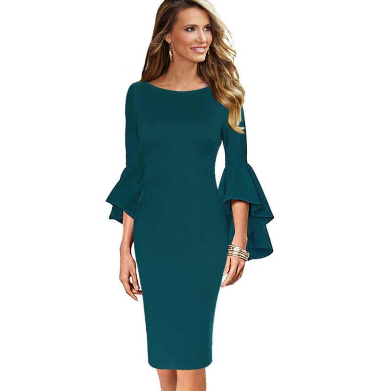 Vfemage женское осеннее Элегантное Длинное расклешенное платье с рукавами-колокольчиками модное винтажное вечернее коктейльное облегающее платье-карандаш 1703