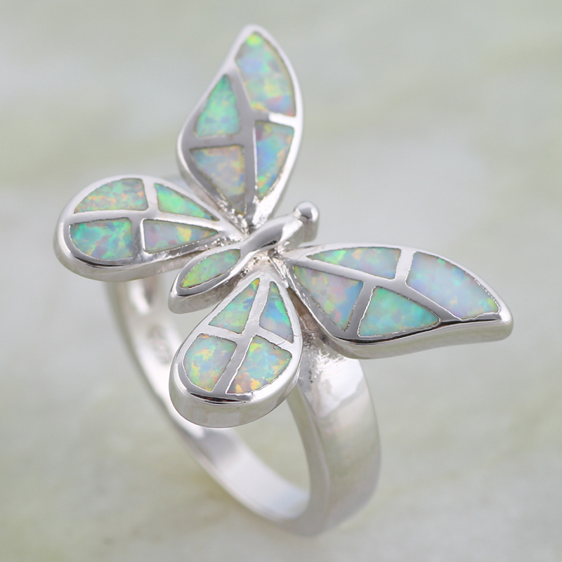Anillos de joyería de moda para mujer, anillo de mariposa, ópalo blanco, Color plata, anillo de fiesta de plata, tamaño 5 6 7 8 9 10 R616
