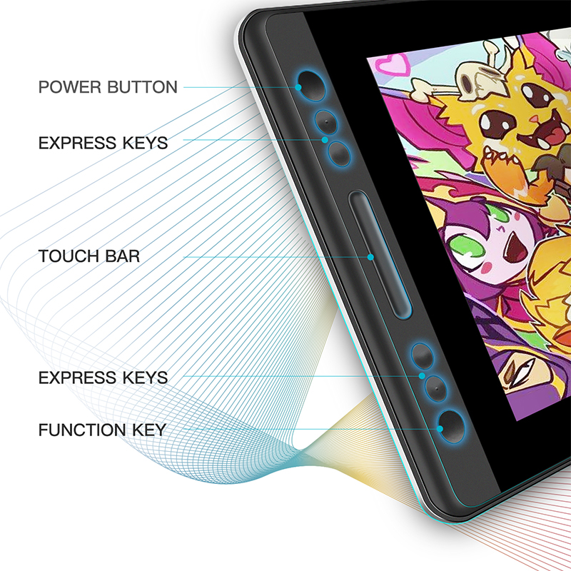 HUION KAMVAS Pro 13, Pen Tablet Monitor Digital Tablet Battery-Free Pen  Display Drawing Monitor with Tilt Func AG Glass