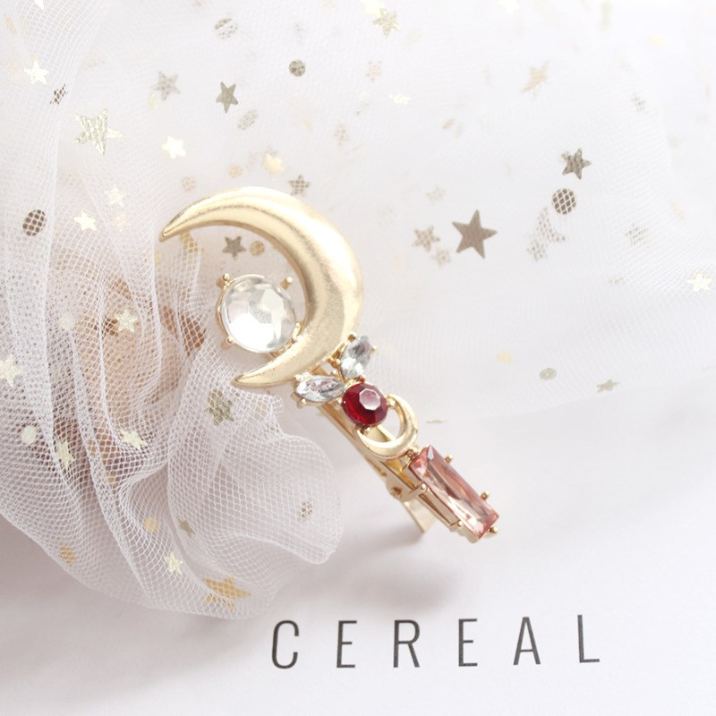 2018 Sailor Moon Stick Hairclip Moon Gold Moon Pink Rhinestone Hairpin Hair Accessories Jewelry in Hair Jewelry from Jewelry Accessories