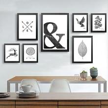 Canvas Painting Black White Abstract Minimalist Symbols