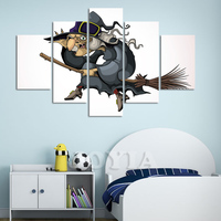 5 Pieces Canvas Wall Art Cartoon Character Painting HD Printed Witch Riding A Broom Picture Poster