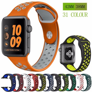 цена на Silicone strap band for Nike apple watch series 5/4/3/2 42mm 38mm rubber wrist bracelet adapter iwatch 40/44mm Apple watch band