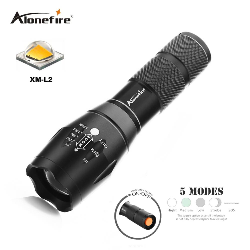 AloneFire E17 Powerful LED Flashlight 18650 zoom torch waterproof flashlights CREE XM L2 U3 LED 4000LM