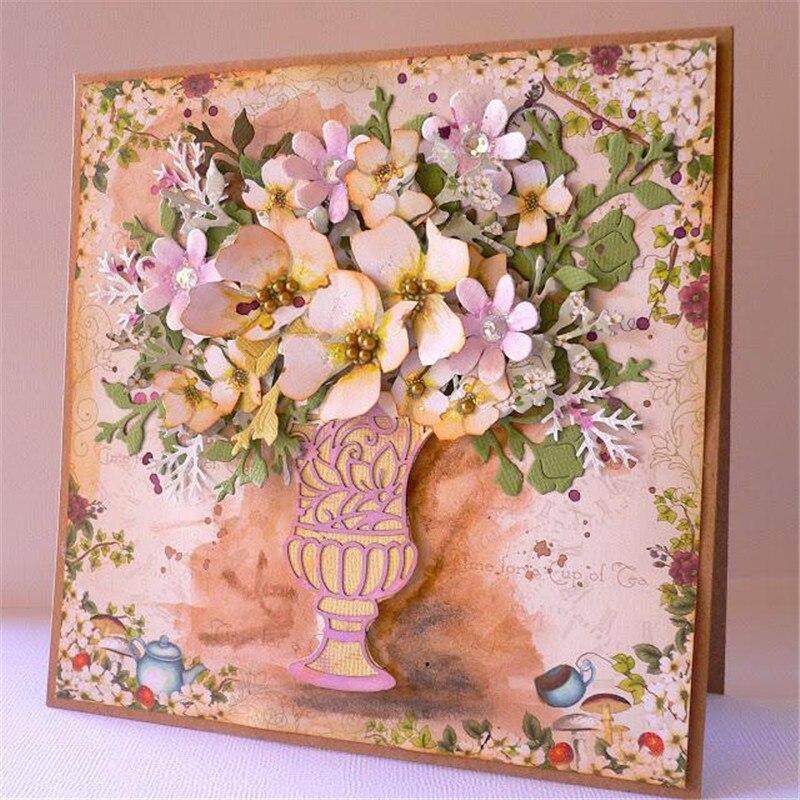 YaMinSanNiO Metal Cutting Dies for Scrapbooking Decor Card Making Album Crafts Die Cut New Dies Vase Floral Pattern Metal Dies in Cutting Dies from Home Garden