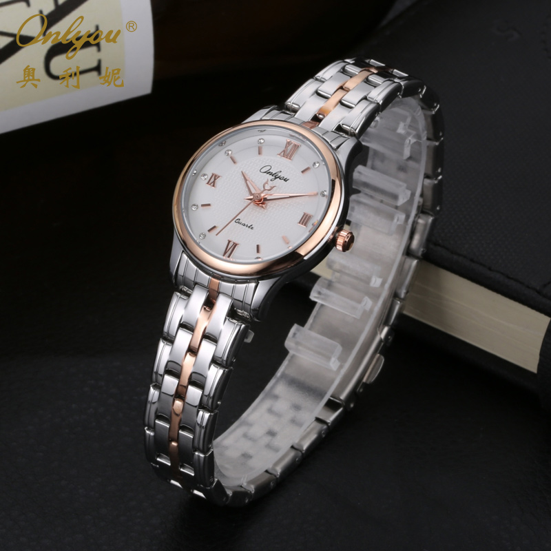 Onlyou Luxury Brand Ladies Dress Watches Rose Gold Stainless Steel Quartz Watch Unique Gifts Wrist Watches For Women 81078 onlyou ladies dress watches luxury brand women quartz watch stainless steel gold black silver wristwatches relogio feminino 8677