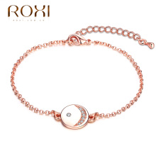 ROXI Bracelet Fashion Cute Girls Chain Rose Gold Plated with Smile Face Bracelets zircon love simple pulseiras Women Jewelry