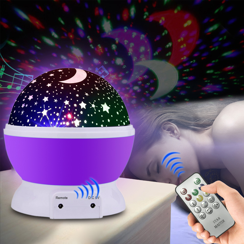 LED Rotating Star Projector Remote Novelty holiday Lighting Moon Sky Rotation Kids Nursery Night Light Battery Operated Lamp