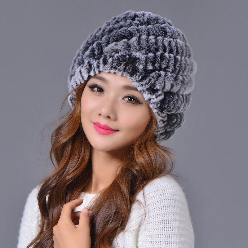 2c3f79d89d6 Dropwow YIFEI Russian Winter Knitted Rabbit Fur Cap Women Genuine ...