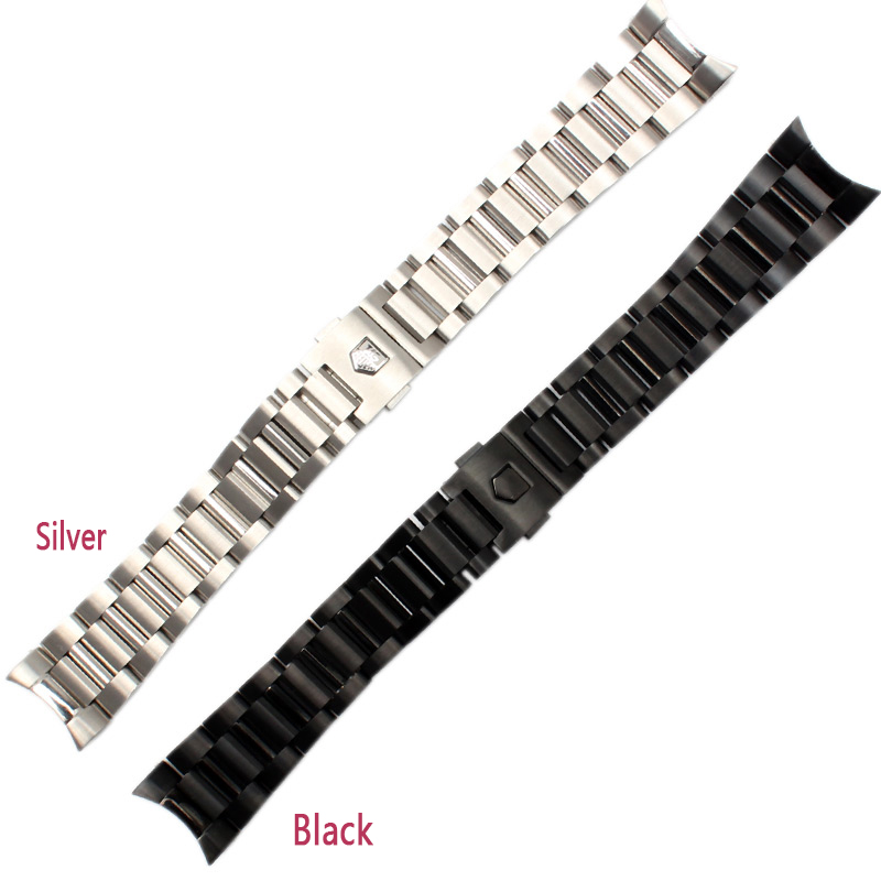 New arrival black Stainless steel Watchband Bracelets Curved end Solid Link 22mm for Brand steel watch men High QualityNew arrival black Stainless steel Watchband Bracelets Curved end Solid Link 22mm for Brand steel watch men High Quality
