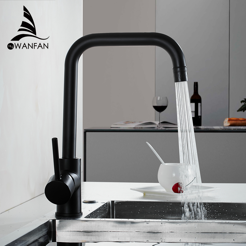 Kitchen Faucets Black Color Rotating Copper Crane Kitchen Sink Faucet Hot And Cold Water Brass Taps Kitchen Mixer Tap 866037R