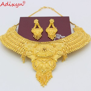 Image 3 - Adixyn Arab Necklace and Earrings Jewelry Set For Women Gold Color Elegant African/Ethiopian/Dubai Wedding/Party Gifts N100712