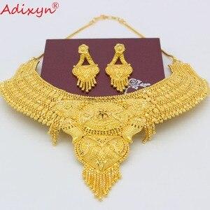 Image 3 - Adixyn arabe collier et boucles doreilles parure de bijoux pour femmes couleur or élégant africain/éthiopien/dubaï mariage/cadeaux de fête N100712