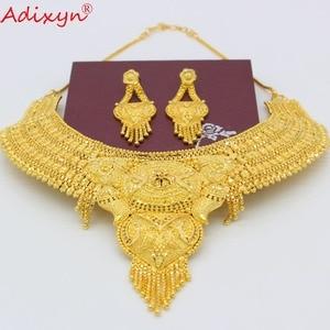 Image 3 - Adixyn 아랍 목걸이와 귀걸이 쥬얼리 여성을위한 설정 골드 컬러 우아한 아프리카/에티오피아/두바이 웨딩/파티 선물 n100712