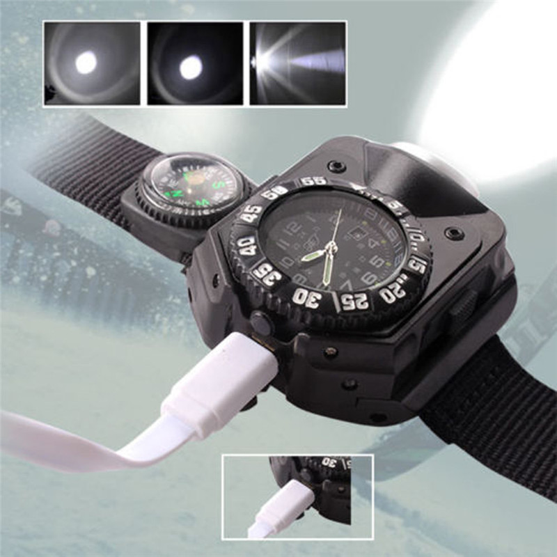 300lumens 5Modes Waterproof Tactical LED Dial Display USB Rechargeable Wrist Watch Flashlight Light Bicycle Light new portable led wrist watch flashlight torch light usb charging wrist model tactical rechargeable flashlight