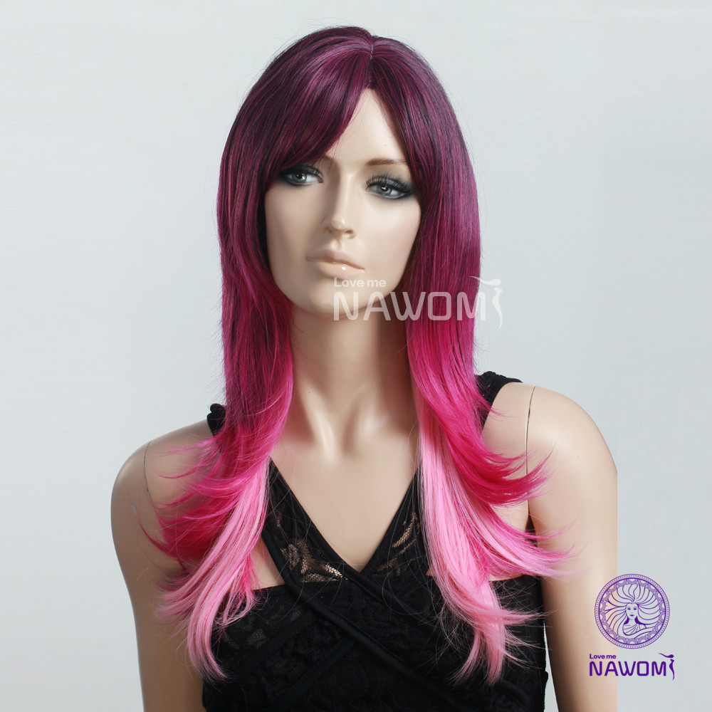 Free Shipping Long Red And Pink Highlight Wigs For Women Cheap Synthetic Hair Cosplayparty Wigs On Aliexpress Alibaba Group