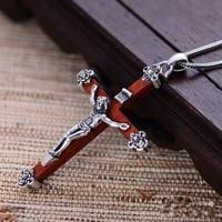 Black silver jewelry wholesale 925 sterling silver jewelry pendant xh024339 male domineering Jesus cross