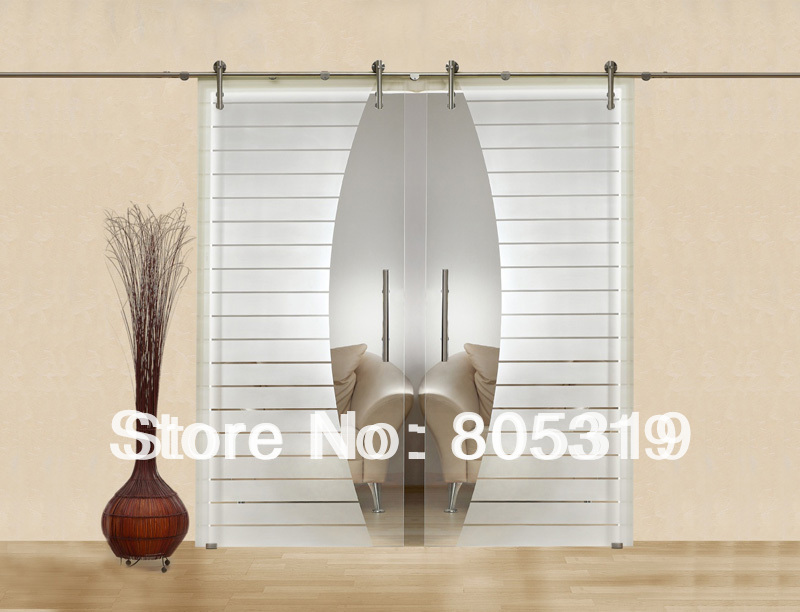 Modern interior glass sliding barn door hardware double - Contemporary glass doors interior ...
