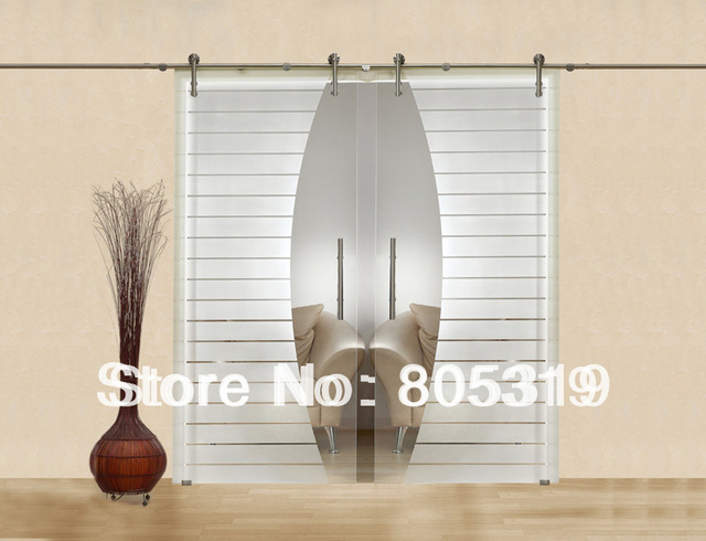 Modern Interior Glass Sliding Barn Door Hardware Double Sliding