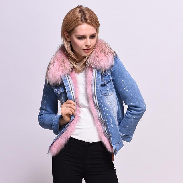 Mulheres Jaqueta de inverno 2017 Das Senhoras Real Fox fur Forrado Jaquetas Jeans Inverno Linhas Frete Grátis Feminino Casaco de Pele Cor De Rosa