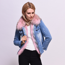 Winter Jacket Women 2017 Ladies Real Fox fur Lined Denim Jeans Jackets Winter Pink Fur Lines Free Shipping Female Overcoat