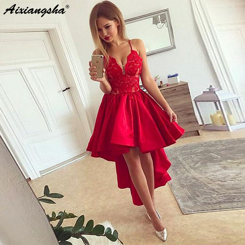 Chic Spaghetti Straps Lace Appliques Bodice Tea-Length Party Gowns A-Line Satin High Low Prom Dress a-line