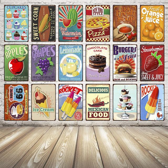 Cake Sweet Corn Pizza Apples Burger Metal Tin Sign Poster Bar Antique Wall Art Painting 2030 Cm Size