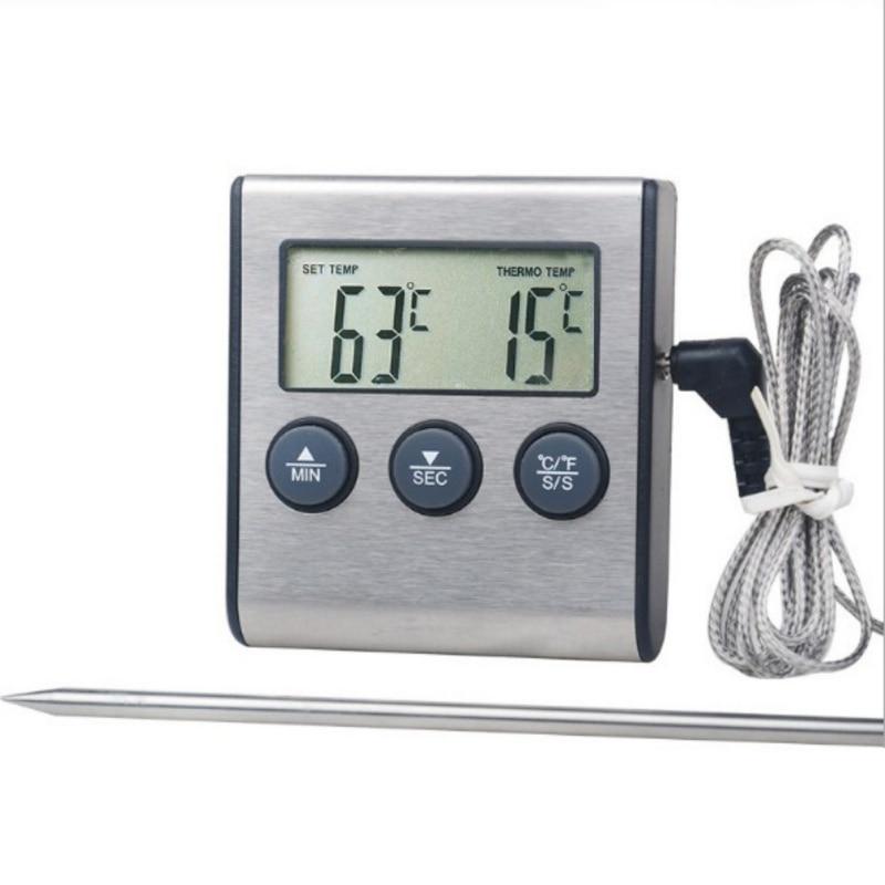 Novo 1pc cozinha comida termômetro com temporizador de aço inoxidável cozinha alimentos cozinhar carne churrasco termômetro materiais