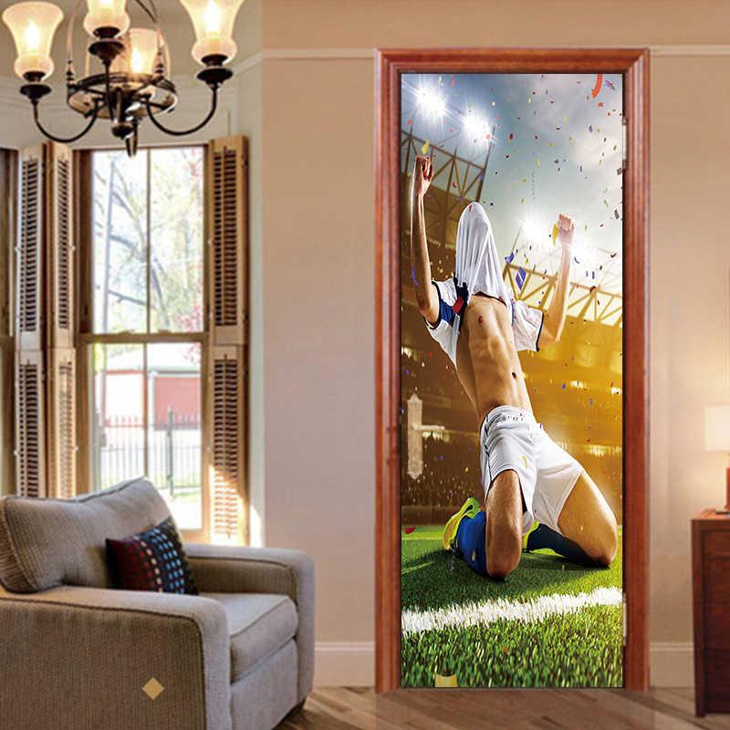 Креативная футбольная наклейка на дверь футболиста обои наклейки ПВХ наклейка Спортивное украшение Фреска комнаты для мальчиков детской домашний декор