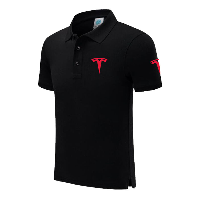 Polo   Shirt Tesla logo Casual Solid shirt Short Sleeve Cotton printed   Polos