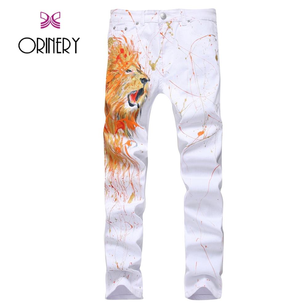ФОТО ORINERY Hot Sale Designer Lion Painted Jeans Men Fashion Brand White Pants Straight Elastic Denim Trousers Size 28-38 Plus Size