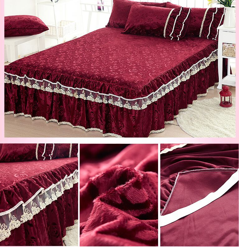 3pcs/set Lacework Lace Velvet Bed Skirt 100% Bedding Set Bed Sheet Queen  King Size Bed Cover Bed Clothes Bed Spread  In Bed Skirt From Home U0026 Garden  On ...